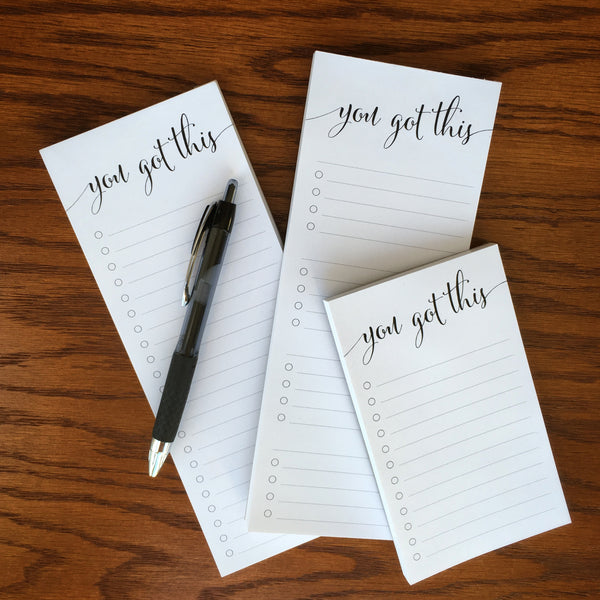 All Handled to do list notepads, three pad bundle