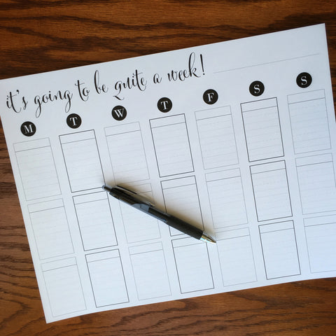 Large weekly planner note pad