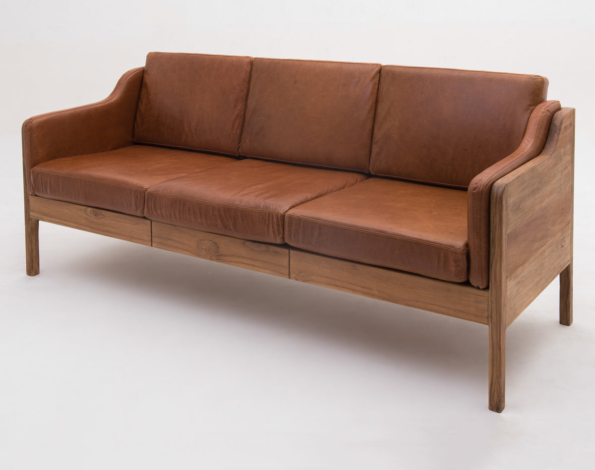 Exceptional Aalborg Sofa 3 Seat Cushions   Leather, Cognac