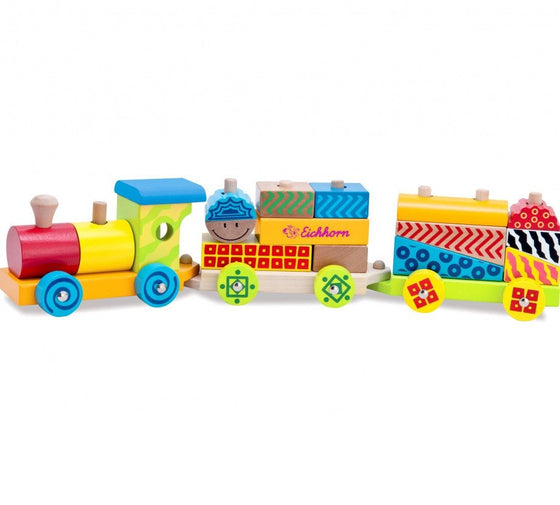 Wooden Block Train 41cm (12m+) - Little Whale
