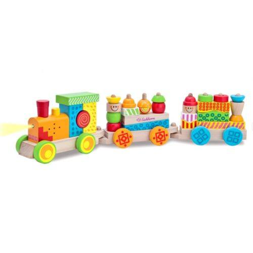 Wooden Light Sound & Building Block Train 59cm (12m+) - Little Whale