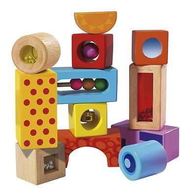 Wooden Color Sound Building Blocks 12pc (12m+) - Little Whale