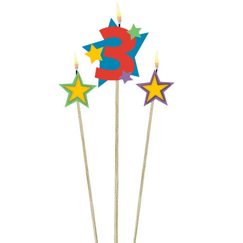 Number 3 Birthday Candle and Stars 3ct - Little Whale