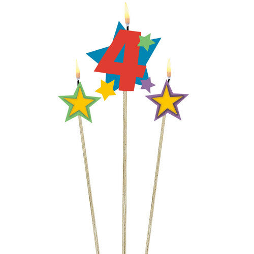 Number 4 Birthday Candle And Stars 3ct