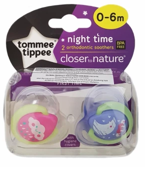 Tommee Tippee Night Time 2 Orthodontic Soother 0-6m - Little Whale