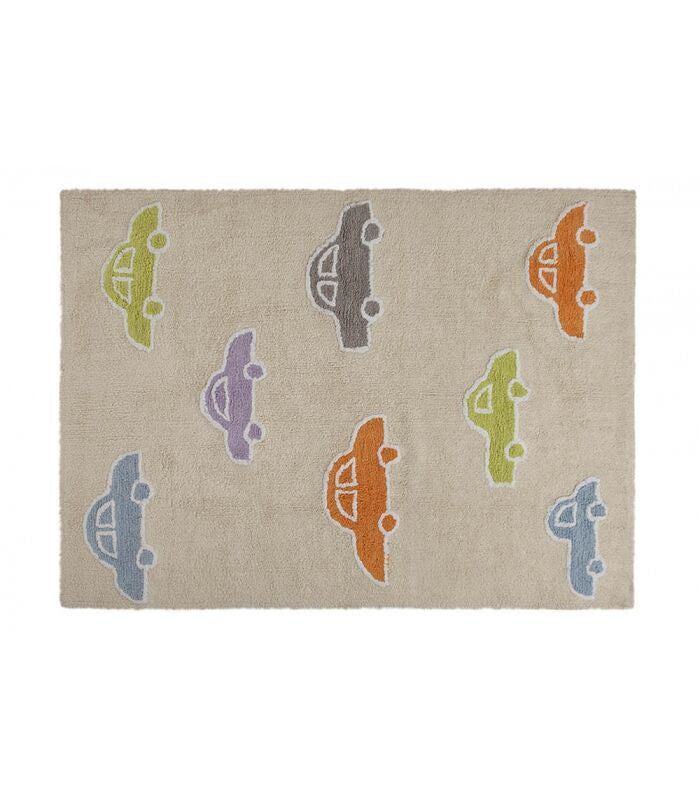 Cream Carpet With Cars 120*160cm - Little Whale