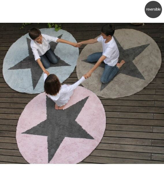 Reversible Star Beige-Dark Grey 140cm - Little Whale