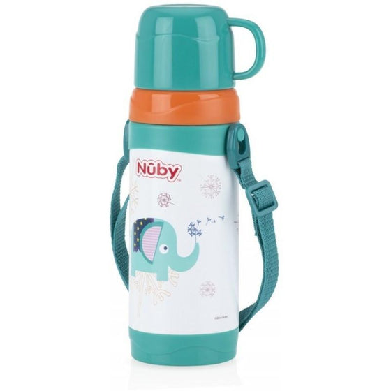 Nuby No-spill Clik-it Stainless Steel Insulated Store n' pour 360ml Green - Elephant - Little Whale
