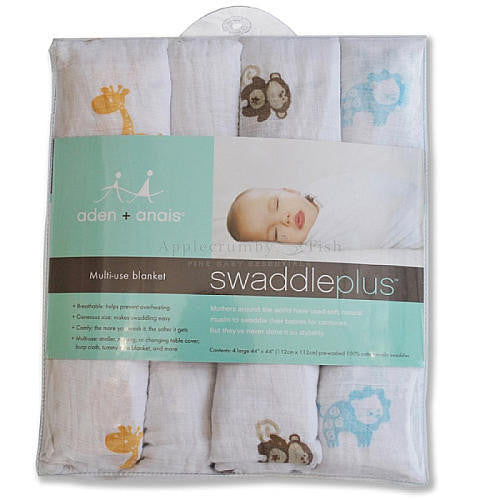 Swaddle Plus Safari Friends 4pk - Little Whale