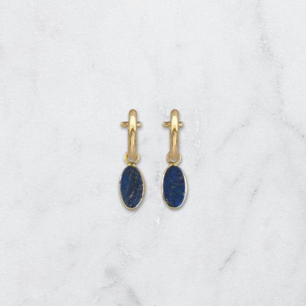LAPIS LAZULI OVAL EARRINGS BRASS