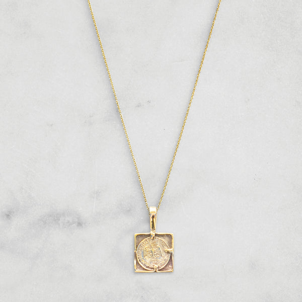 SQUARE PESO PENDANT NECKLACE