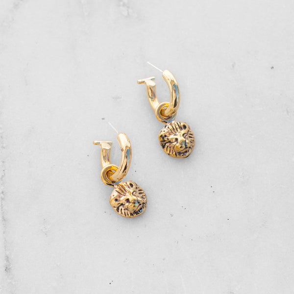 LION EARRINGS BRASS
