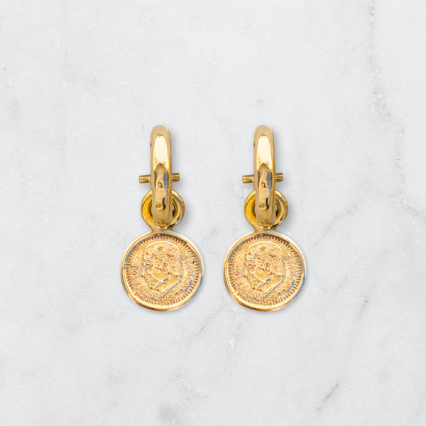 LARGE ROUND PESO EARRINGS