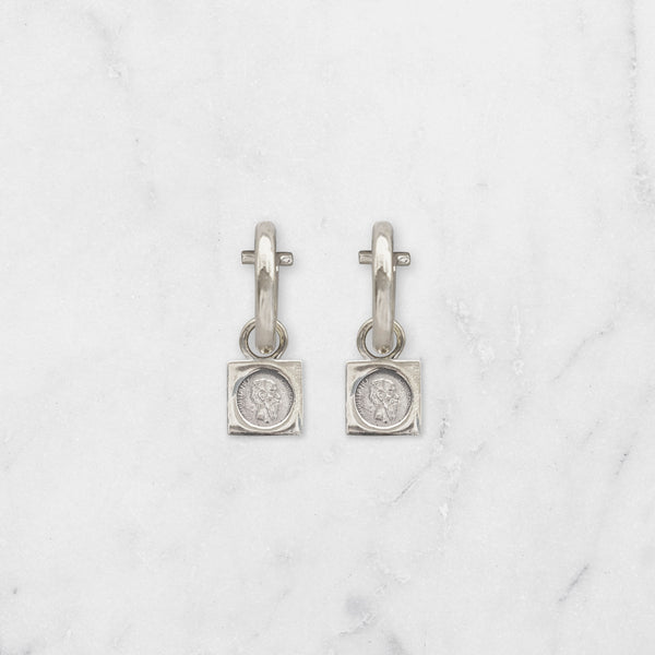 SMALL SQUARE PESO EARRINGS