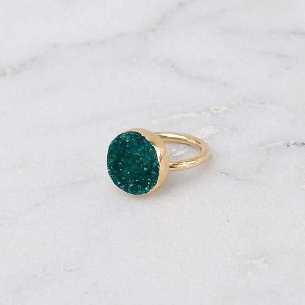 RAW STONE RING BRASS ROUND GREEN