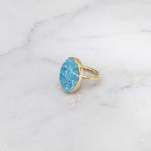 RAW STONE RING BRASS OVAL TURQUOISE