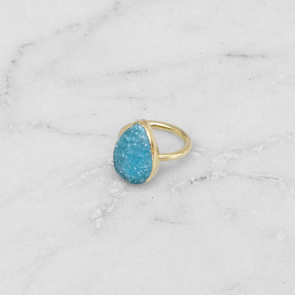 RAW STONE RING BRASS TEARDROP TURQOISE