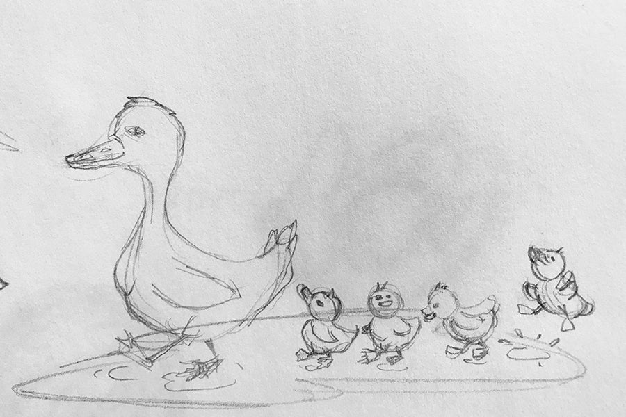 Make Way For Mom, sketch - Paprika Press Printshop