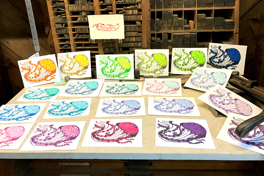 Jellyfish print color tests - Paprika Press Printshop