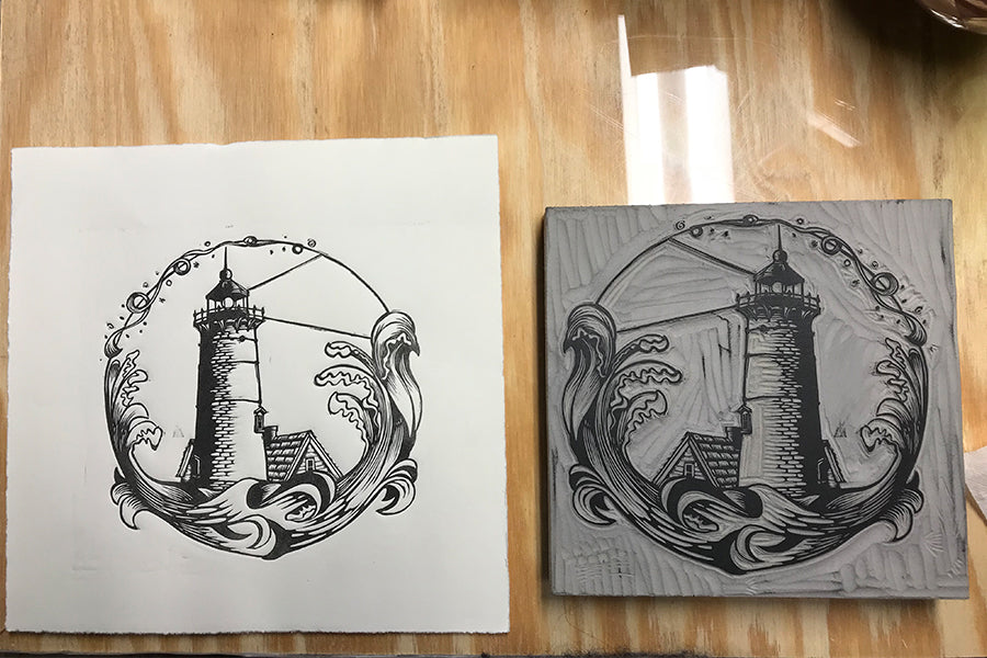 Nauset Light test print - Paprika Press Printshop
