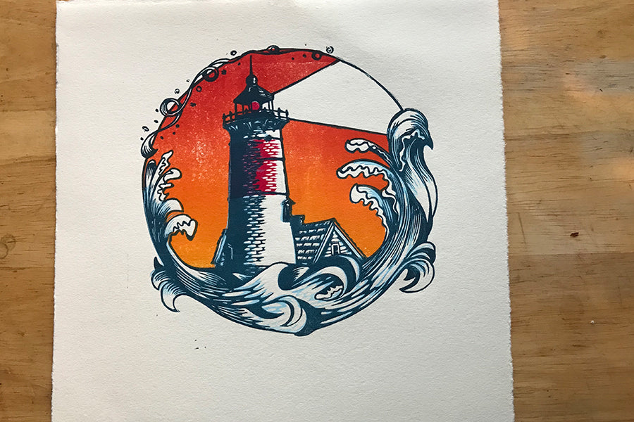 Color Test Lighthouse Dusk - Paprika Press Printshop