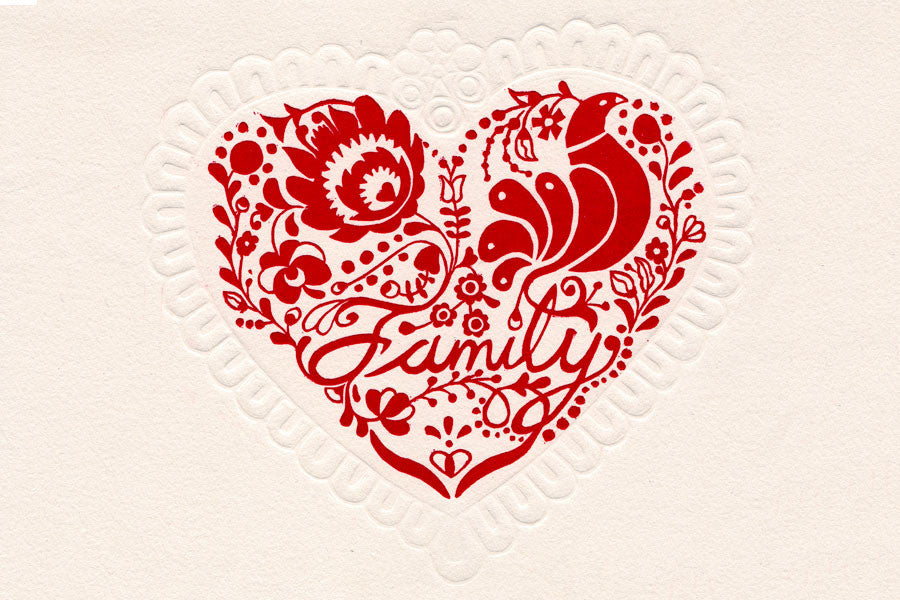 "Paprika Press - Printmaking signed greeting card ""Family"" with Hungarian heart motif; love."