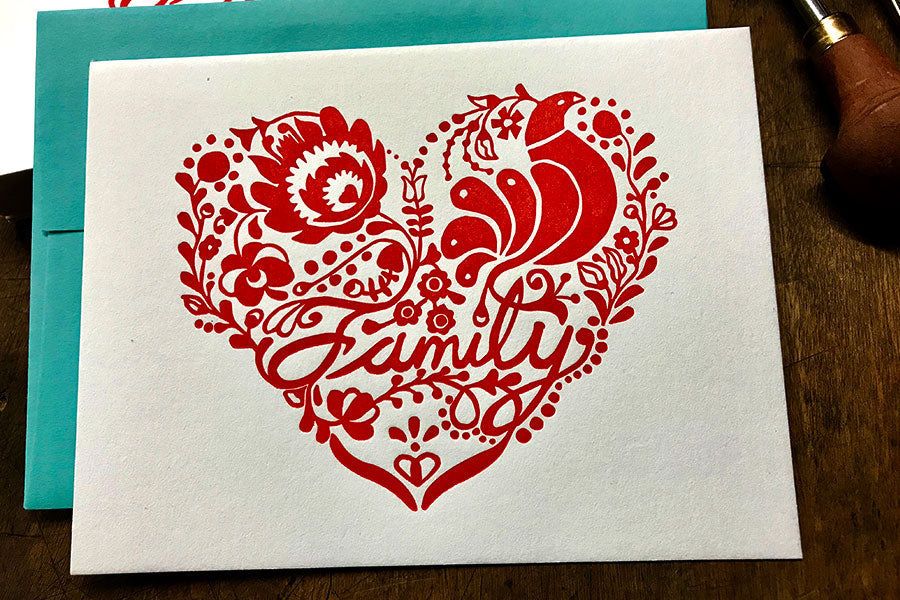 Family Letterpress Card  |  by Paprika Press Printshop
