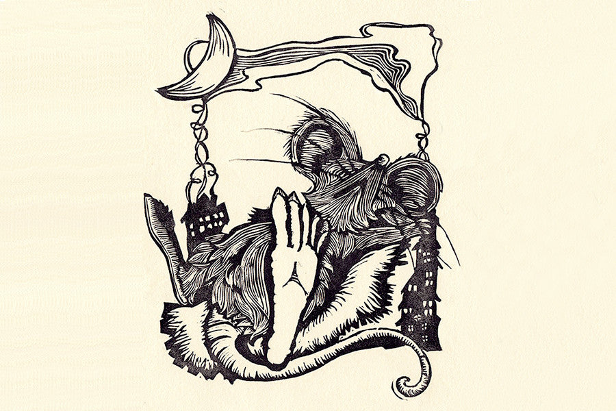 "Paprika Press - ""Not Even A Mouse"" printed linocut and greeting card inspired by ""Twas the Night Before Christmas."" A limited edition signed print by Paprika Press. Get yours today!"