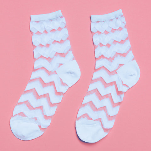 Glasshouse Chevron Sock (White)