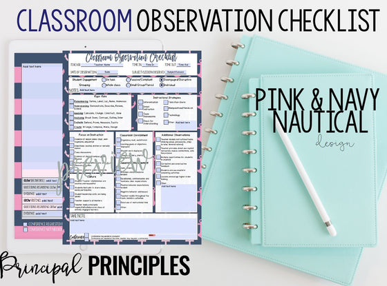 DIGITAL CLASSROOM OBSERVATION CHECKLIST- PINK & NAVY
