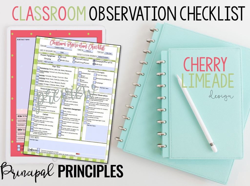 DIGITAL CLASSROOM OBSERVATION CHECKLIST- CHERRY LIMEADE