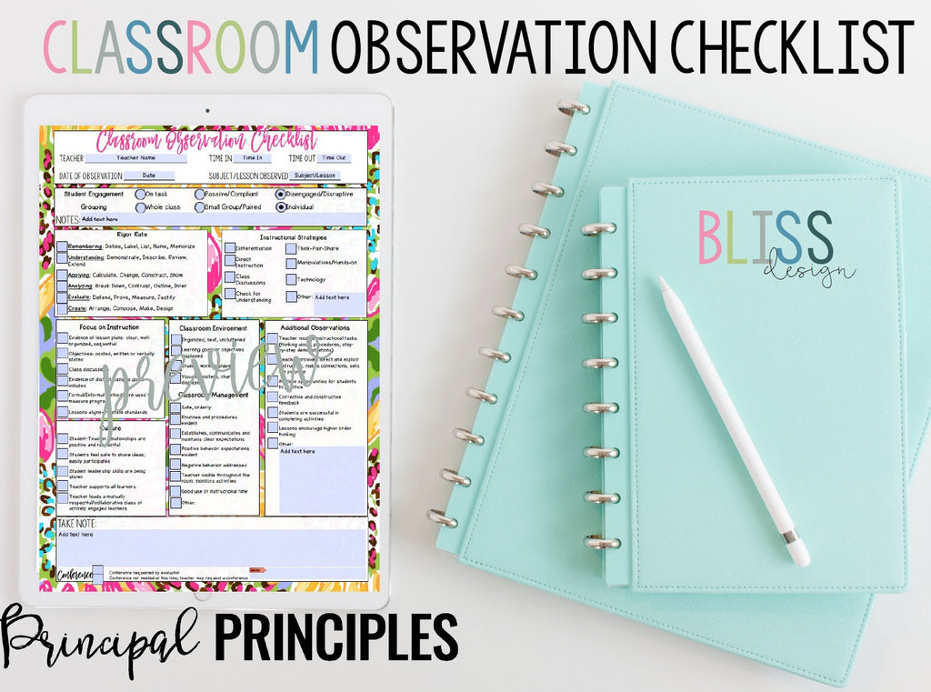 DIGITAL CLASSROOM OBSERVATION CHECKLIST- BLISS DESIGN