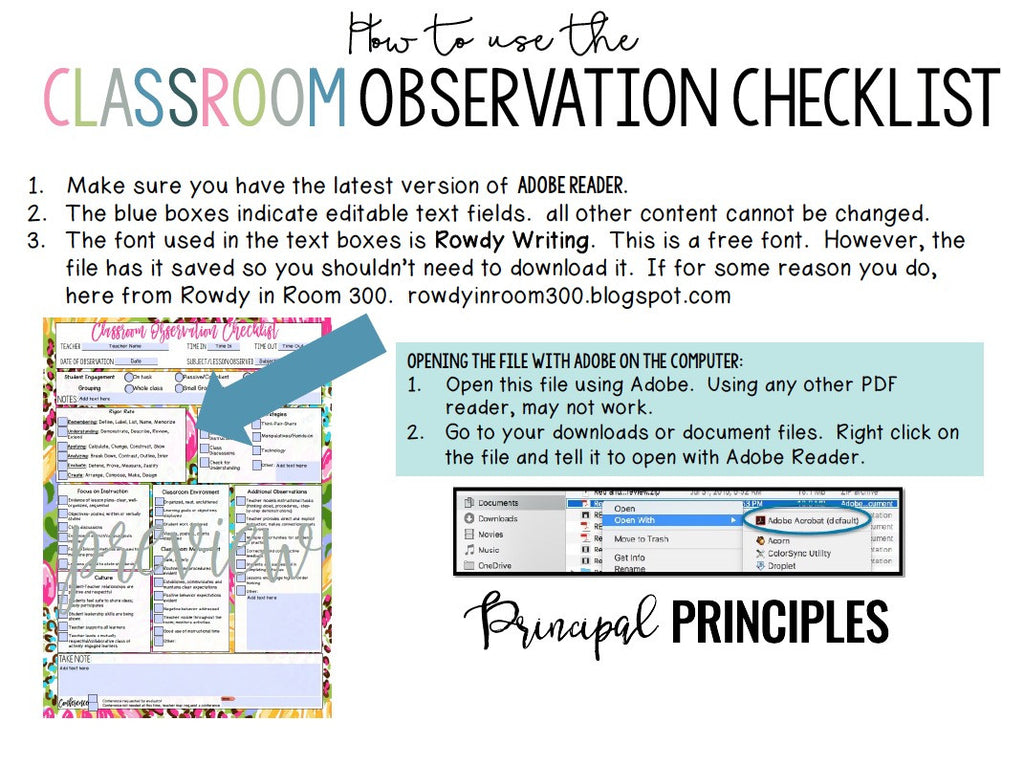 DIGITAL CLASSROOM OBSERVATION CHECKLIST- ROSE
