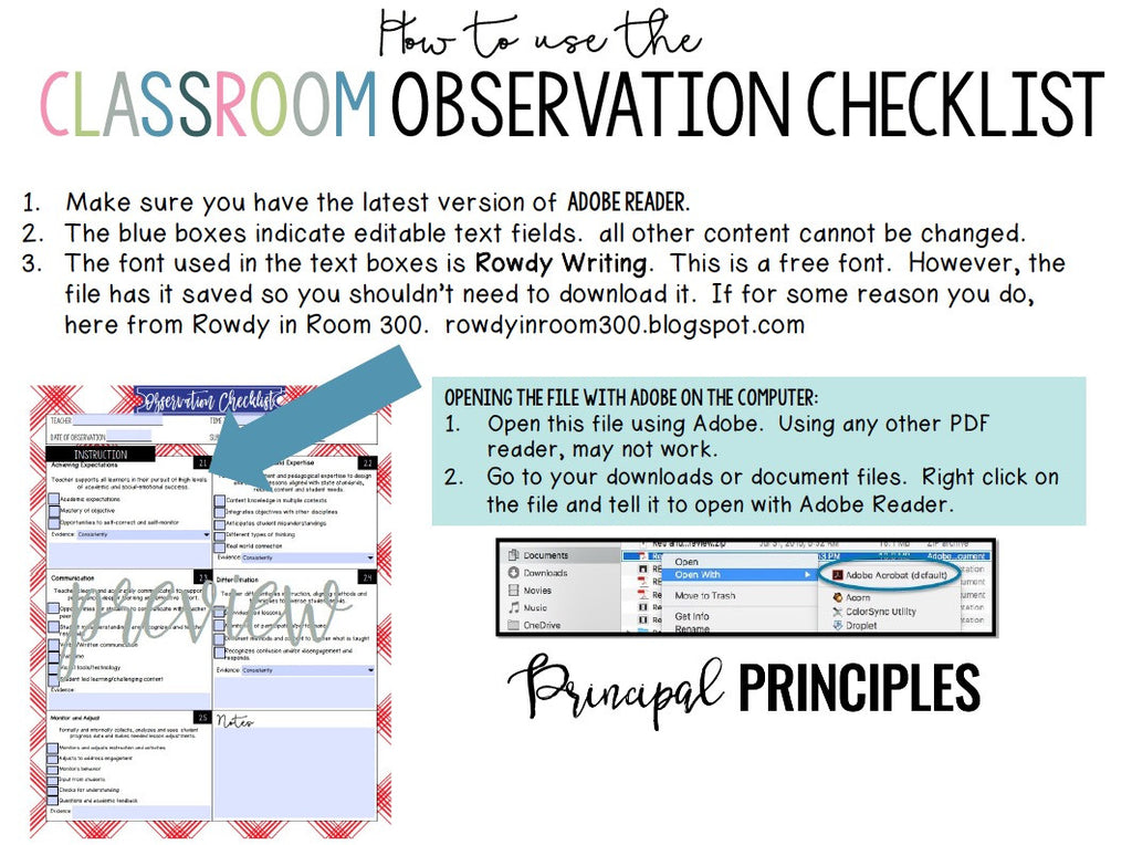 DIGITAL CLASSROOM OBSERVATION CHECKLIST-TEXAS Design