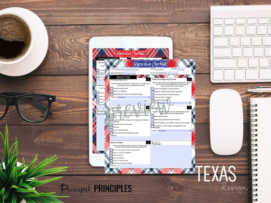 DIGITAL CLASSROOM OBSERVATION CHECKLIST-TEXAS Design 2