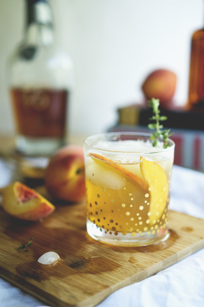 Roasted Peaches + Bourbon Smash Cocktail