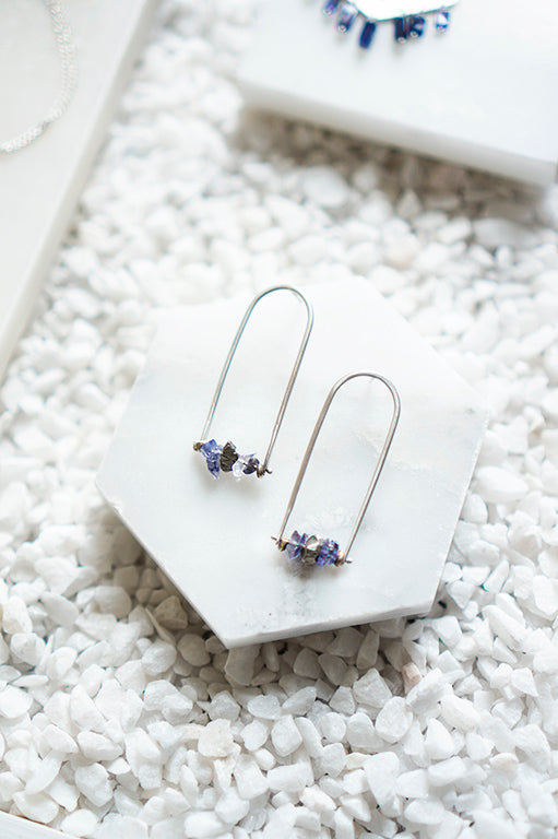 iolite and sterling silver stud earrings