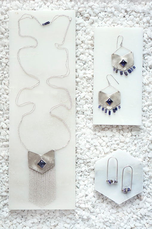 iolite and sterling silver handmade jewelry