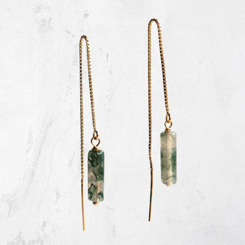 14K Gold Fill or Sterling Silver Threader Earrings - Gemstone Dangle Earrings - Handmade Jewelry - Austin Texas