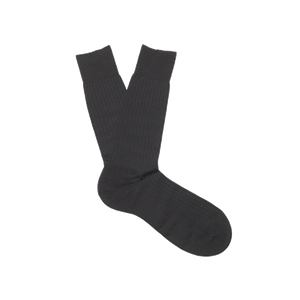 Black Fine Knit Merino Wool Socks