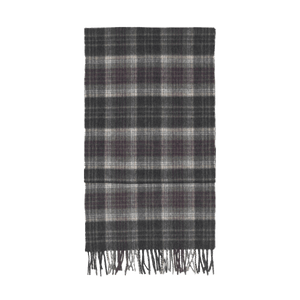 Wellington Check Brushed Escorial Wool Scarf - Charcoal
