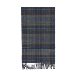 Wellington Check Brushed Escorial Wool Scarf - Navy/Brown