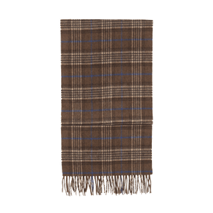 House Check Cashmere Scarf - Brown/Grey/Blue