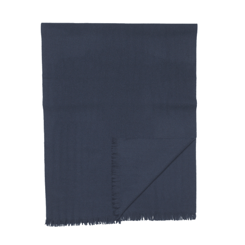 Escorial Wool Lightweight Fine Edge Scarf - Navy