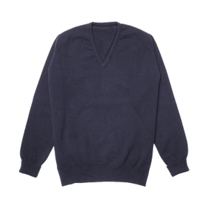 Navy Steadman Fine Lambswool V-Neck Jumper
