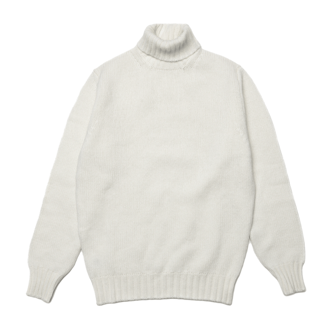 Ecru Newman Lambswool Roll Neck Jumper