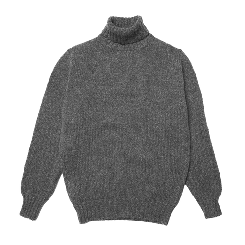 Mixed Grey Newman Lambswool Roll Neck Jumper