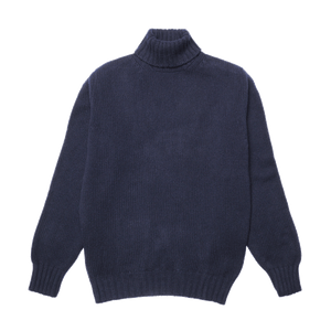 Navy Newman Lambswool Roll Neck Jumper