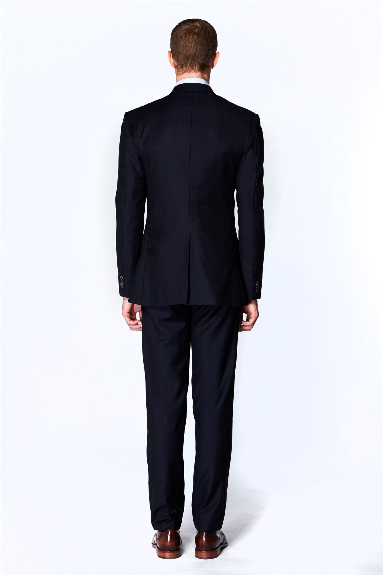 Navy Herringbone Suit (Italian Wool)