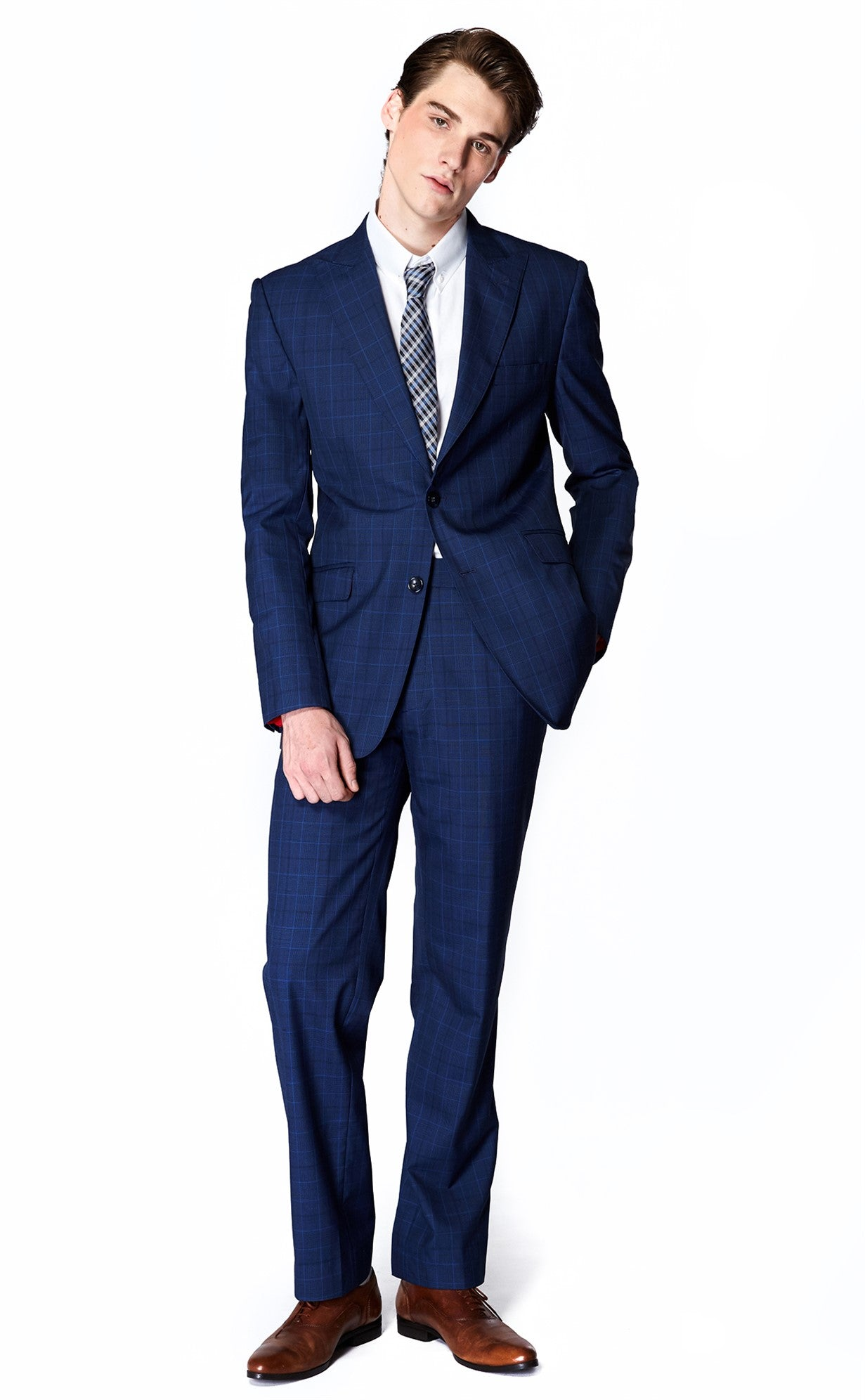 Blue Plaid Suit (Italian Wool)